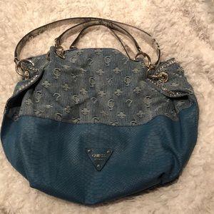 "🇺🇸GUESS denim logo and ""snake skin"" purse"